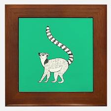 Lemur on Green Framed Tile
