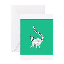 Lemur on Green Greeting Cards