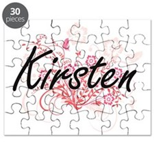 Kirsten Artistic Name Design with Flowers Puzzle