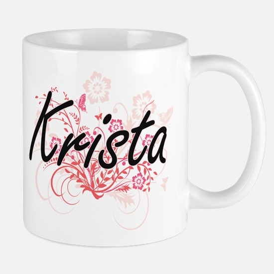 Krista Artistic Name Design with Flowers Mugs