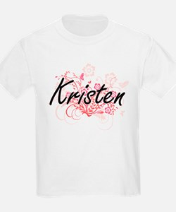 Kristen Artistic Name Design with Flowers T-Shirt