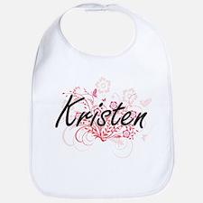 Kristen Artistic Name Design with Flowers Bib