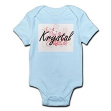 Krystal Artistic Name Design with Flower Body Suit