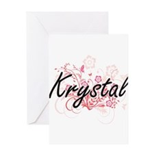 Krystal Artistic Name Design with F Greeting Cards