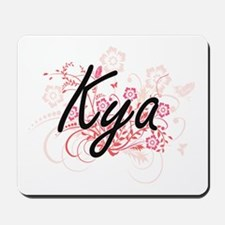 Kya Artistic Name Design with Flowers Mousepad
