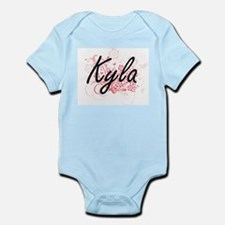 Kyla Artistic Name Design with Flowers Body Suit