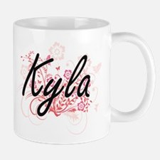 Kyla Artistic Name Design with Flowers Mugs