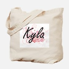 Kyla Artistic Name Design with Flowers Tote Bag