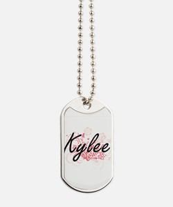 Kylee Artistic Name Design with Flowers Dog Tags