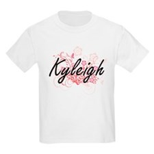 Kyleigh Artistic Name Design with Flowers T-Shirt
