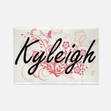 Kyleigh Artistic Name Design with Flowers Magnets