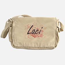 Laci Artistic Name Design with Flowe Messenger Bag