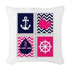 NAUTICAL ON PINK AND BLUE CHEVRON Woven Throw Pill