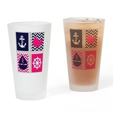NAUTICAL ON PINK AND BLUE CHEVRON Drinking Glass