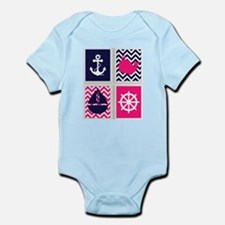 NAUTICAL ON PINK AND BLUE CHEVRON Body Suit
