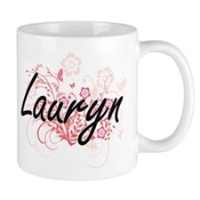 Lauryn Artistic Name Design with Flowers Mugs
