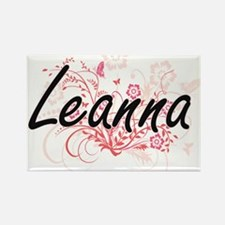 Leanna Artistic Name Design with Flowers Magnets