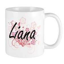 Liana Artistic Name Design with Flowers Mugs