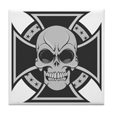 Iron Cross Skull Tile Coaster