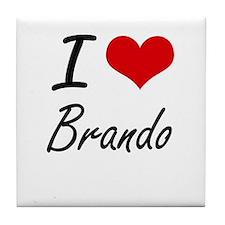 I Love Brando artistic design Tile Coaster