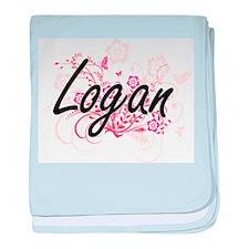 Logan Artistic Name Design with Flowe baby blanket