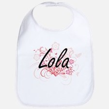 Lola Artistic Name Design with Flowers Bib
