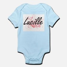 Lucille Artistic Name Design with Flower Body Suit