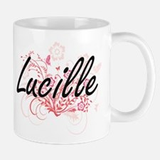 Lucille Artistic Name Design with Flowers Mugs