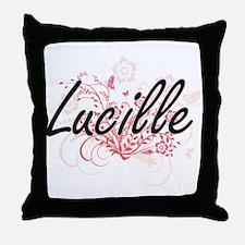 Lucille Artistic Name Design with Flo Throw Pillow