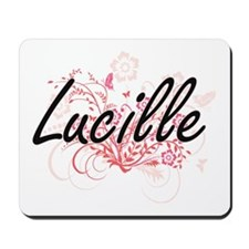 Lucille Artistic Name Design with Flower Mousepad