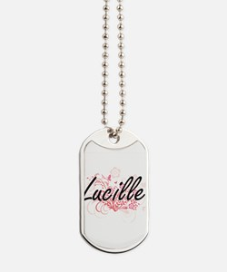 Lucille Artistic Name Design with Flowers Dog Tags