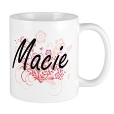 Macie Artistic Name Design with Flowers Mugs