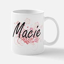 Macie Artistic Name Design with Flowers Mugs