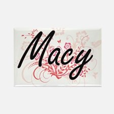 Macy Artistic Name Design with Flowers Magnets
