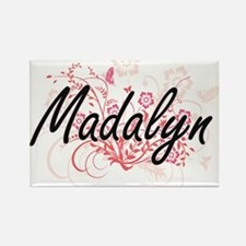 Madalyn Artistic Name Design with Flowers Magnets