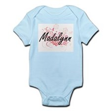 Madalynn Artistic Name Design with Flowe Body Suit