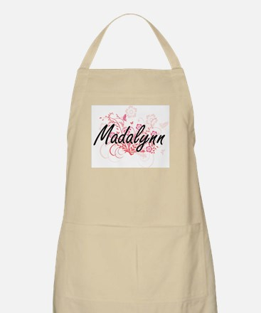 Madalynn Artistic Name Design with Flowers Apron