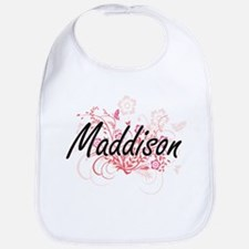 Maddison Artistic Name Design with Flowers Bib