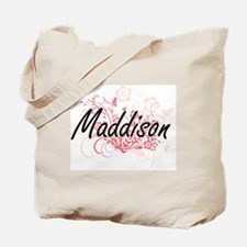 Maddison Artistic Name Design with Flower Tote Bag