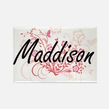 Maddison Artistic Name Design with Flowers Magnets