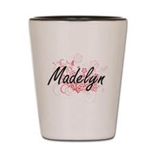 Madelyn Artistic Name Design with Flowe Shot Glass