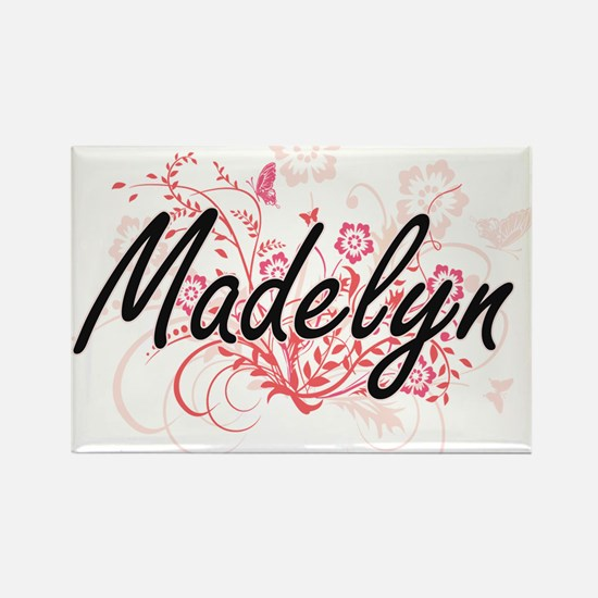 Madelyn Artistic Name Design with Flowers Magnets
