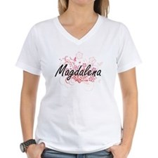 Magdalena Artistic Name Design with Flower T-Shirt