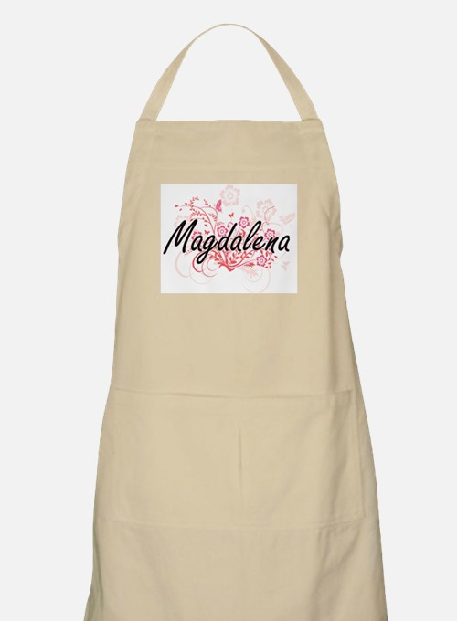 Magdalena Artistic Name Design with Flowers Apron