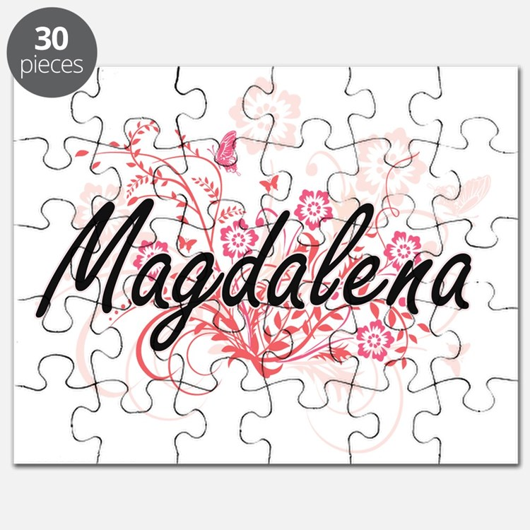 Magdalena Artistic Name Design with Flowers Puzzle