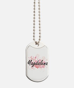 Magdalena Artistic Name Design with Flowe Dog Tags