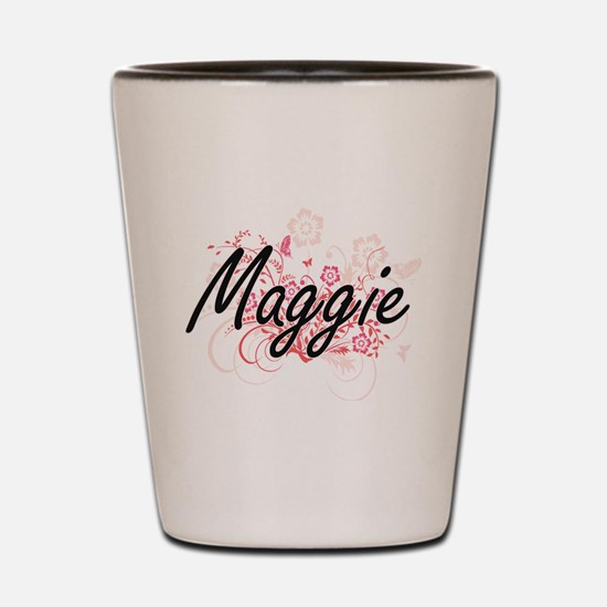 Maggie Artistic Name Design with Flower Shot Glass