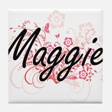 Maggie Artistic Name Design with Flow Tile Coaster