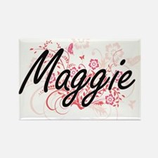 Maggie Artistic Name Design with Flowers Magnets
