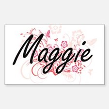 Maggie Artistic Name Design with Flowers Decal